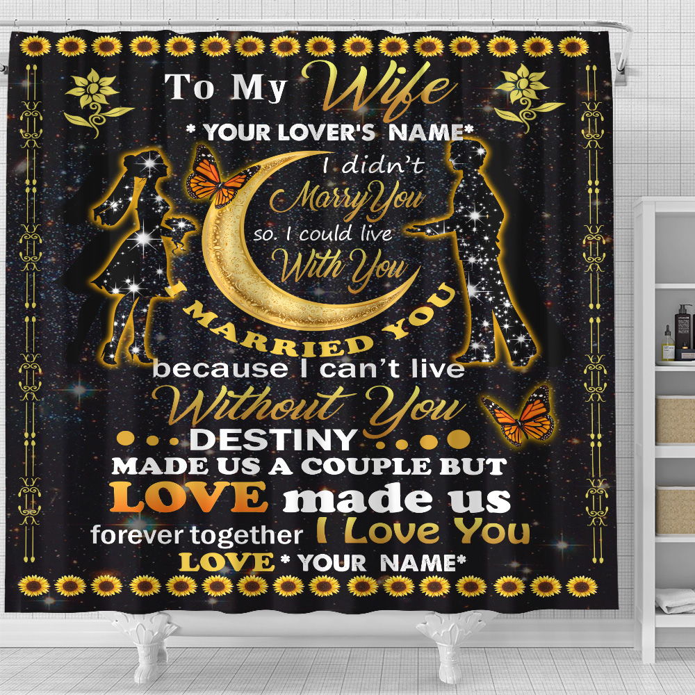 Personalized Shower Curtain 71 X 71 Inch To My Wife Love Made Us Forever Together Set 12 Hooks Decorative Bath Modern Bathroom Accessories Machine Washable