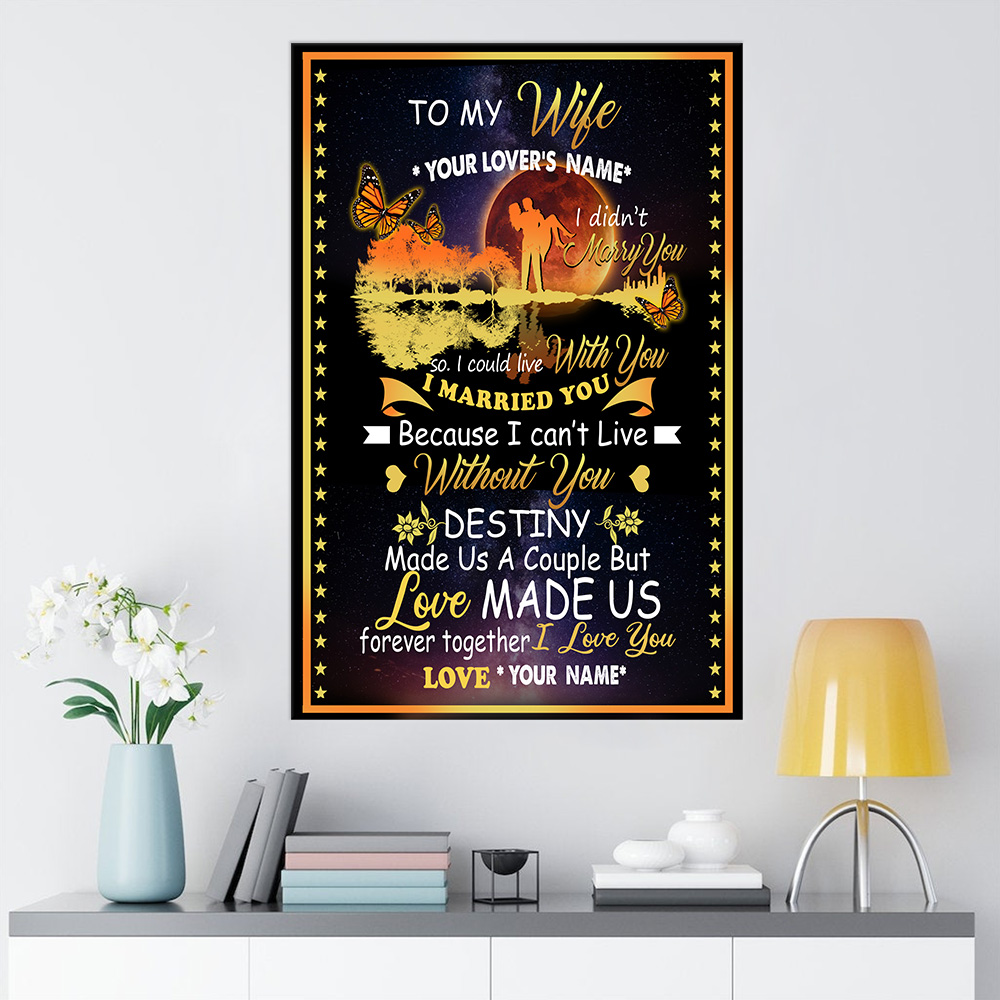 Personalized Wall Art Poster Canvas 1 Panel To My Wife Love Made Us Forever Together Great Idea For Living Home Decorations Birthday Christmas Aniversary