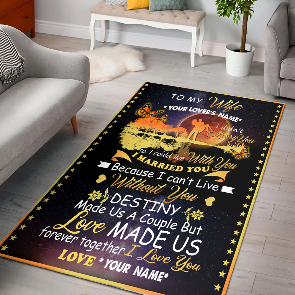 Personalized Floor Area Rugs To My Wife Love Made Us Forever Together Indoor Home Decor Carpets Suitable For Children Living Room Bedroom Birthday Christmas Aniversary