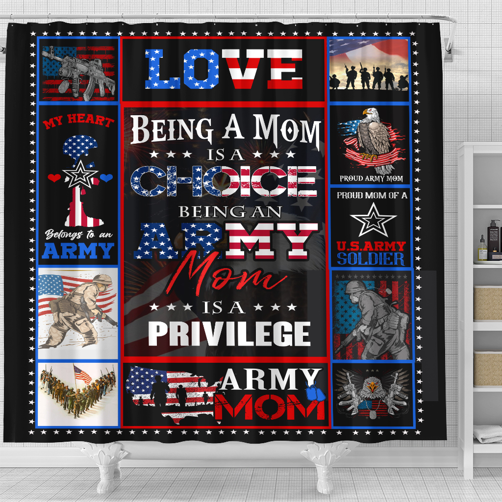 Personalized Shower Curtain 71 X 71 Inch Being A Mom Is A Choice Being An Army Mom Is A Privilege  Set 12 Hooks Decorative Bath Modern Bathroom Accessories Machine Washable