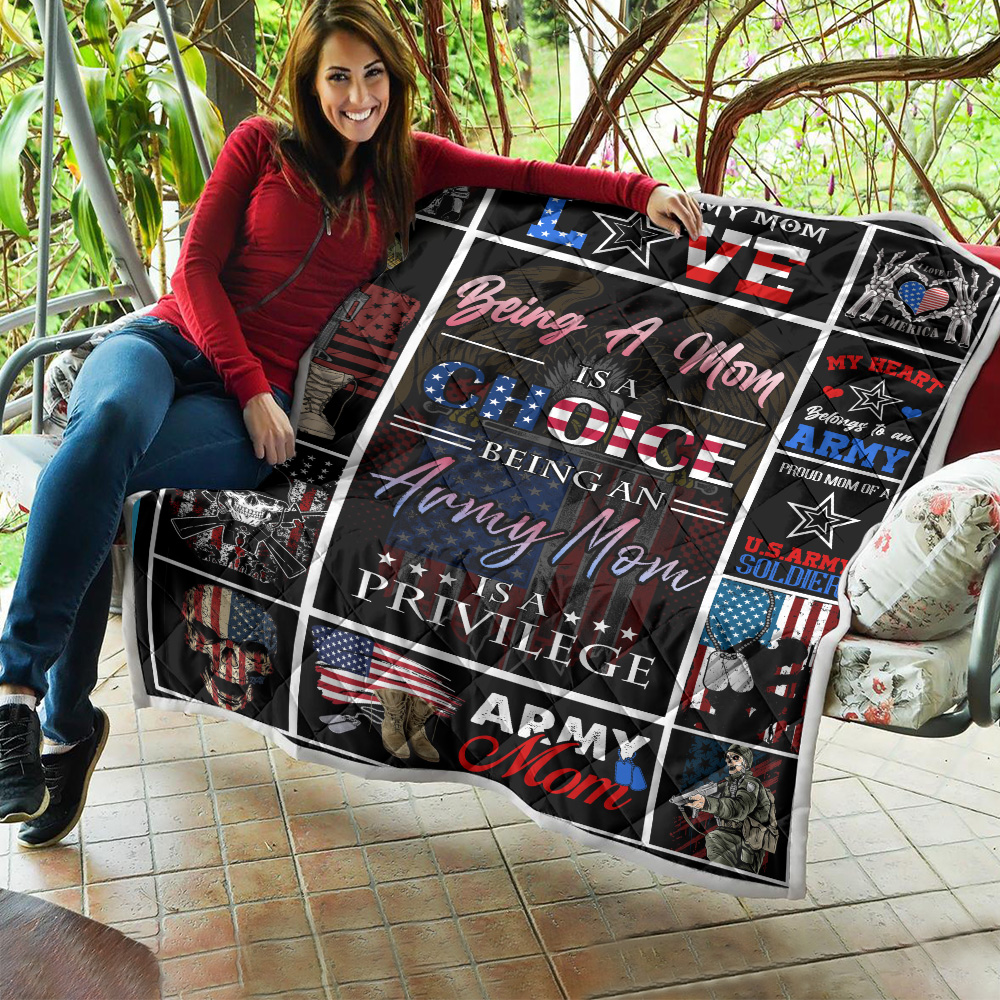 Personalized Quilt Throw Blanket Being A Mom Is A Choice Being An Army Mom Is A Privilege  Lightweight Super Soft Cozy For Decorative Couch Sofa Bed