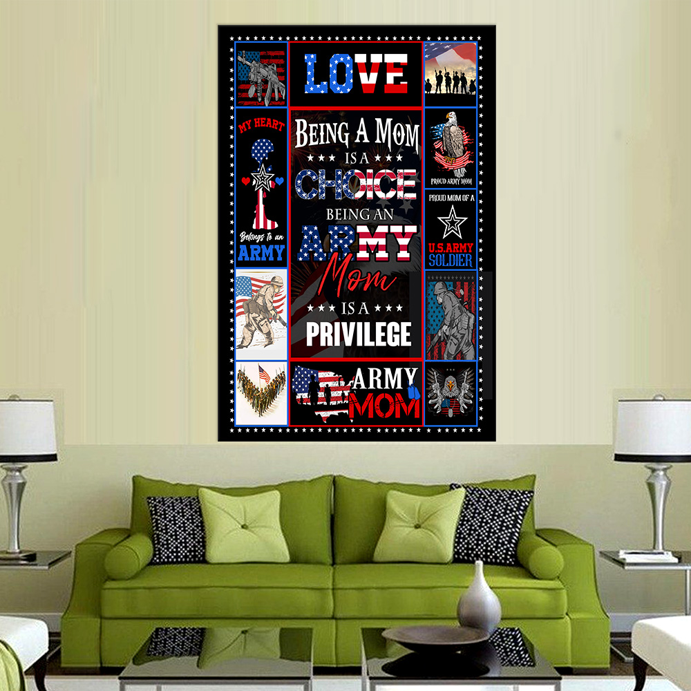 Personalized Wall Art Poster Canvas 1 Panel Being A Mom Is A Choice Being An Army Mom Is A Privilege  Great Idea For Living Home Decorations Birthday Christmas Aniversary