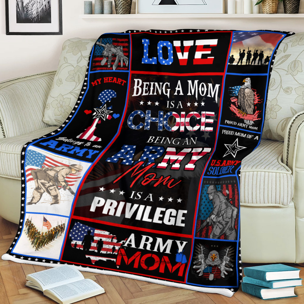 Personalized Fleece Throw Blanket Being A Mom Is A Choice Being An Army Mom Is A Privilege  Lightweight Super Soft Cozy For Decorative Couch Sofa Bed
