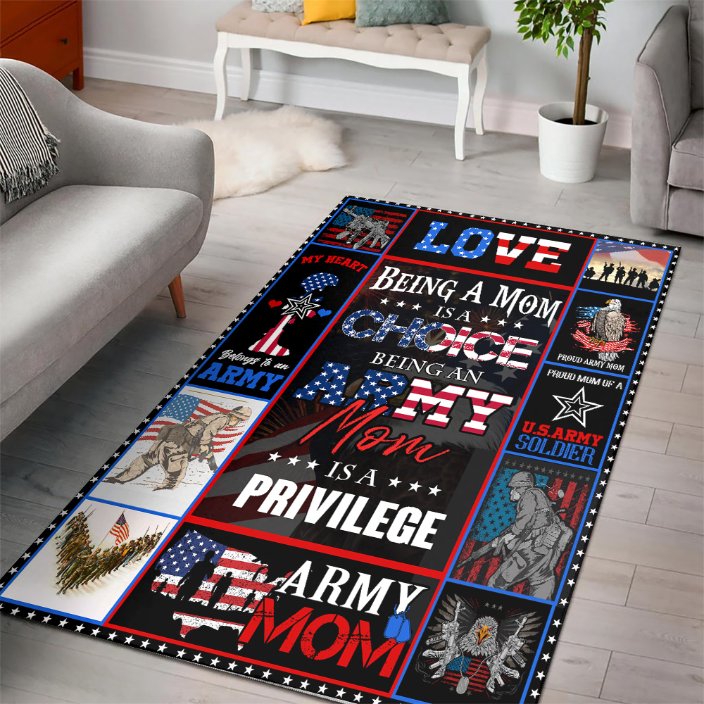 Personalized Floor Area Rugs Being A Mom Is A Choice Being An Army Mom Is A Privilege  Indoor Home Decor Carpets Suitable For Children Living Room Bedroom Birthday Christmas Aniversary