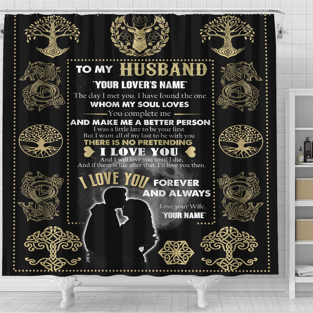 Personalized Shower Curtain 71 X 71 Inch To My Husband You Complete Me And Make Me A Better Person Set 12 Hooks Decorative Bath Modern Bathroom Accessories Machine Washable
