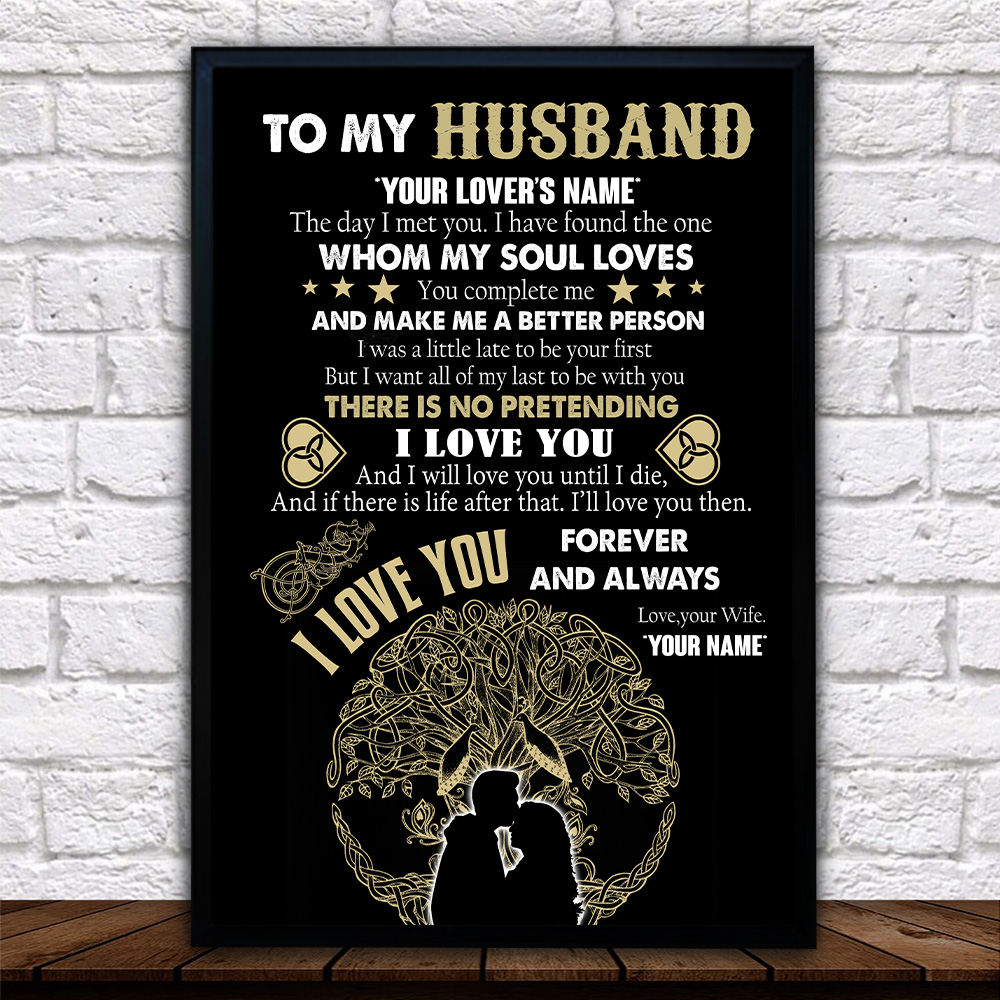 Personalized Wall Art Poster Canvas 1 Panel To My Husband You Complete Me And Make Me A Better Person Great Idea For Living Home Decorations Birthday Christmas Aniversary