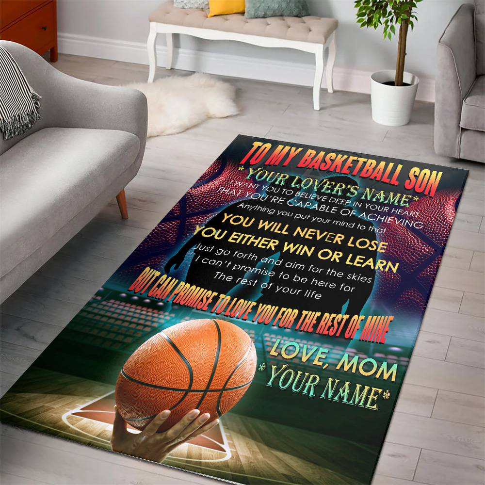 Personalized Floor Area Rugs To My Basketball Son You Will Never Lose Indoor Home Decor Carpets Suitable For Children Living Room Bedroom Birthday Christmas Aniversary
