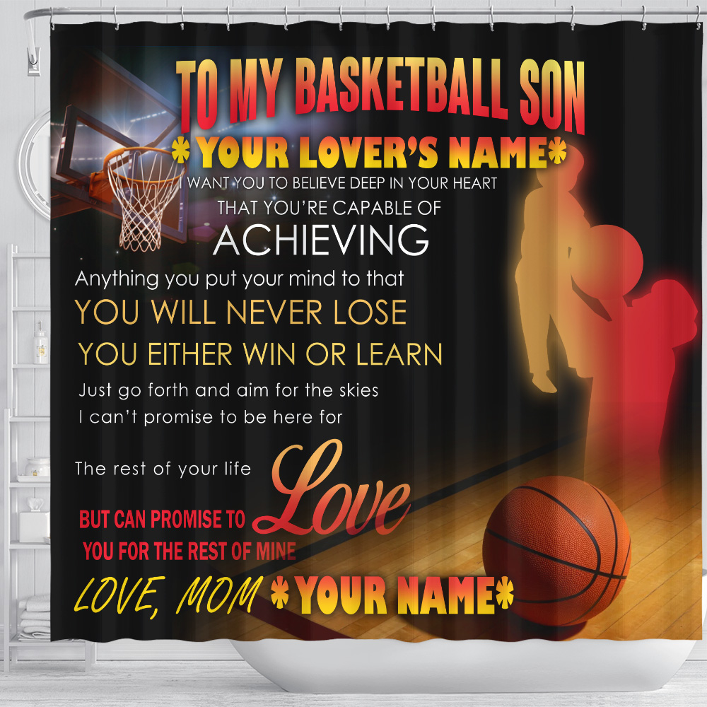 Personalized Shower Curtain 71 X 71 Inch To My Basketball Son You Will Never Lose Set 12 Hooks Decorative Bath Modern Bathroom Accessories Machine Washable