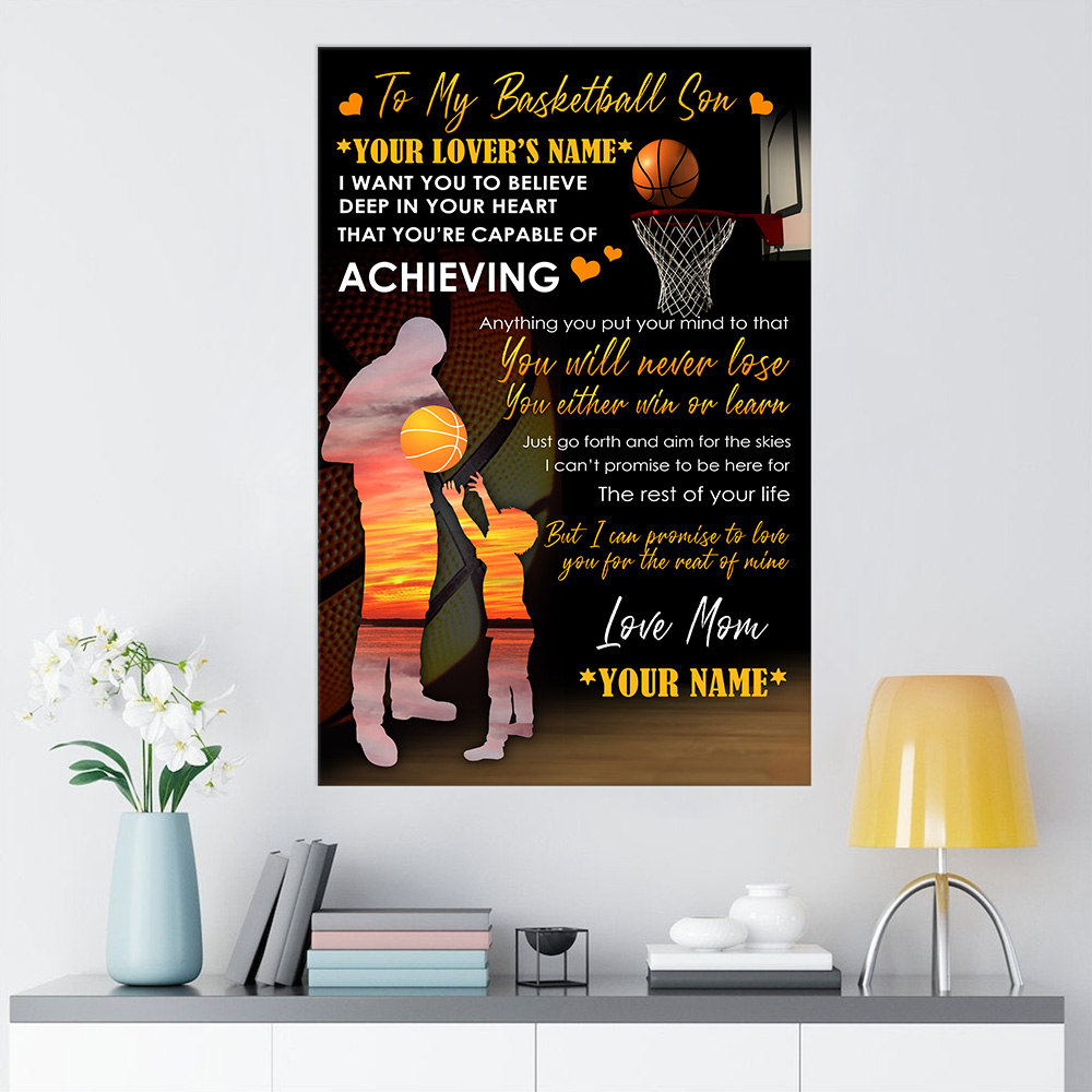 Personalized Wall Art Poster Canvas 1 Panel To My Basketball Son You Will Never Lose Great Idea For Living Home Decorations Birthday Christmas Aniversary