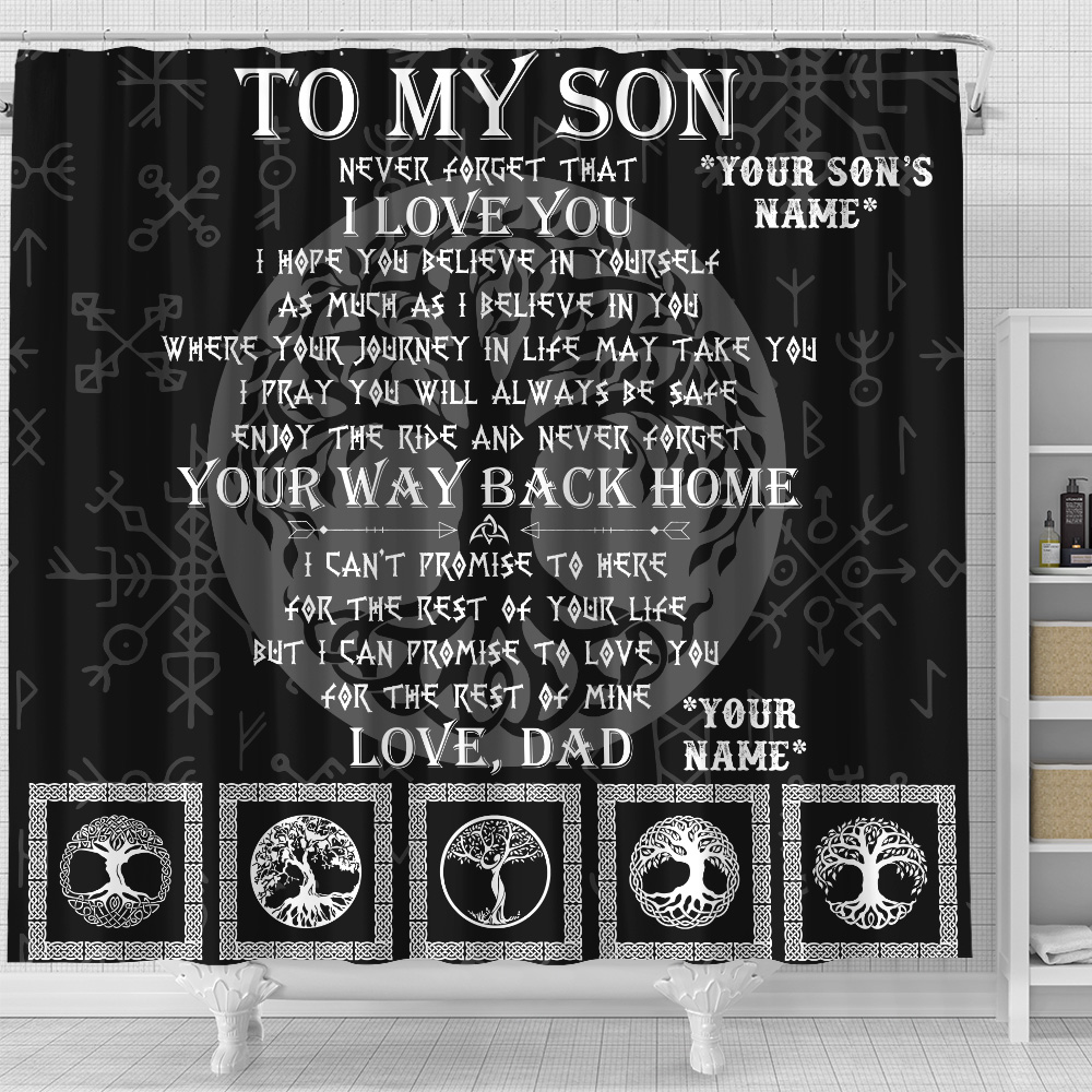 Personalized Shower Curtain 71 X 71 Inch To My Son Never Forget That I Love You Set 12 Hooks Decorative Bath Modern Bathroom Accessories Machine Washable