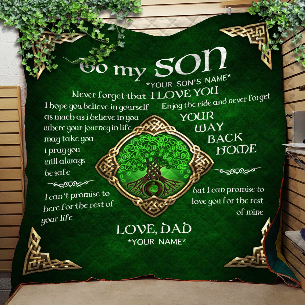 Personalized Quilt Throw Blanket To My Son Never Forget That I Love You Lightweight Super Soft Cozy For Decorative Couch Sofa Bed
