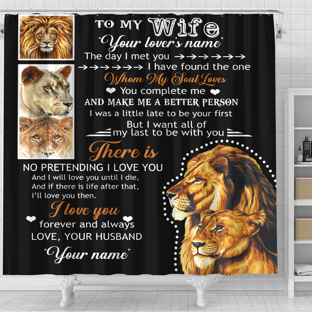 Personalized Shower Curtain 71 X 71 Inch To My Lion Wife Together We Are Everything Set 12 Hooks Decorative Bath Modern Bathroom Accessories Machine Washable