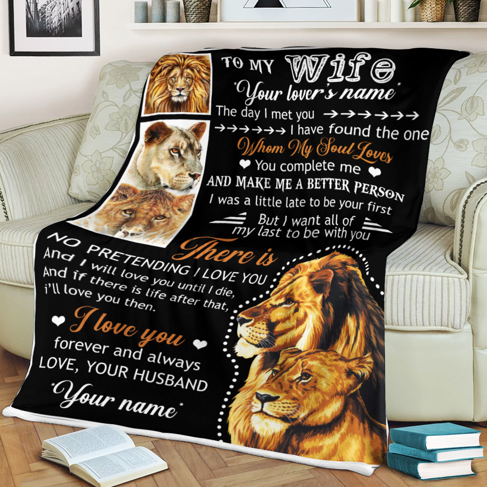 Personalized Fleece Throw Blanket To My Lion Wife Together We Are Everything Lightweight Super Soft Cozy For Decorative Couch Sofa Bed