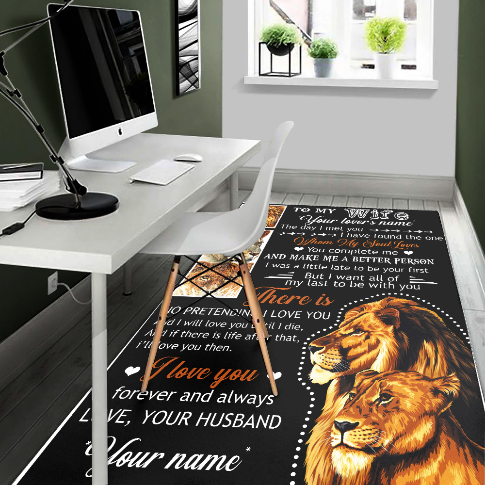 Personalized Floor Area Rugs To My Lion Wife Together We Are Everything Indoor Home Decor Carpets Suitable For Children Living Room Bedroom Birthday Christmas Aniversary