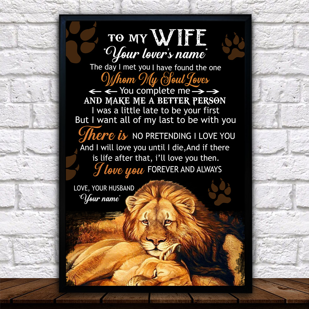 Personalized Wall Art Poster Canvas 1 Panel To My Lion Wife Together We Are Everything Great Idea For Living Home Decorations Birthday Christmas Aniversary