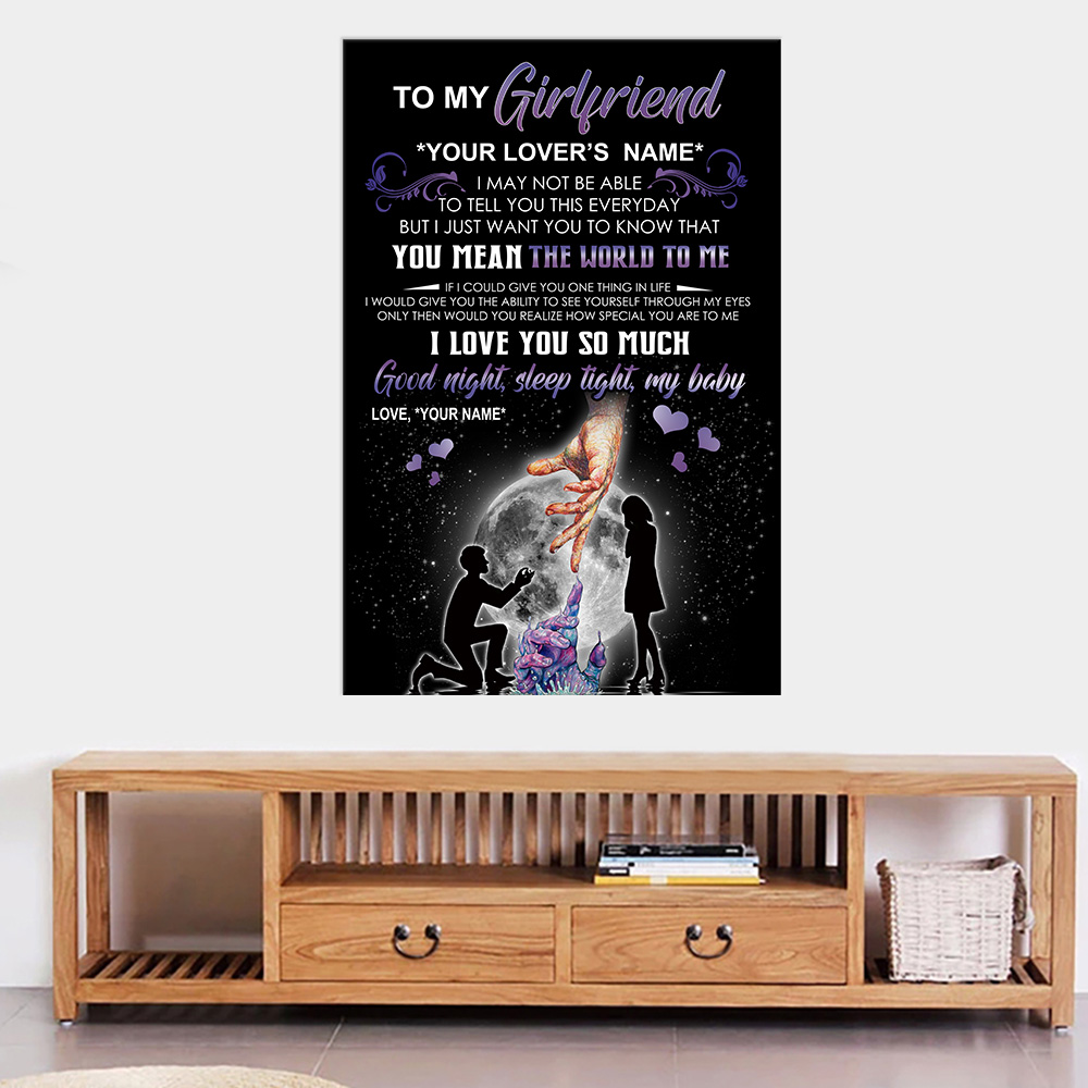 Personalized Wall Art Poster Canvas 1 Panel To My Girlfriend You Mean The World To Me Great Idea For Living Home Decorations Birthday Christmas Aniversary