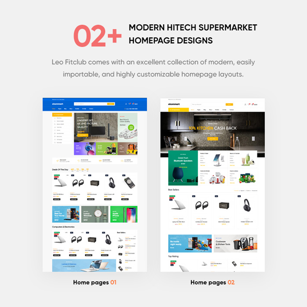 02+ Pre-defined Modern Homepage LayoutsGet your website to look exactly like demos with 1-click-installation