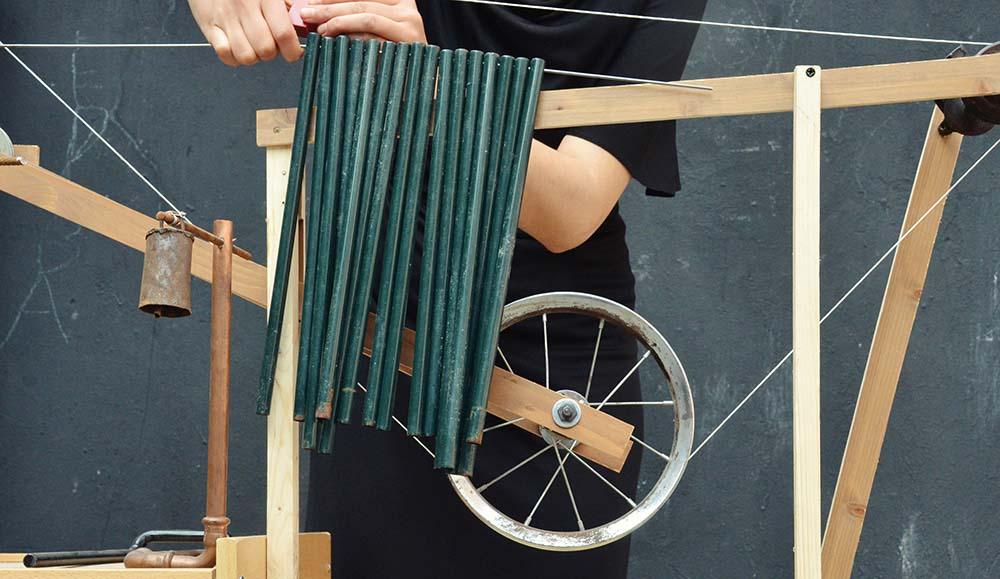 About Anna Godzina Representative Picture, Wheel Sculpture Installation.