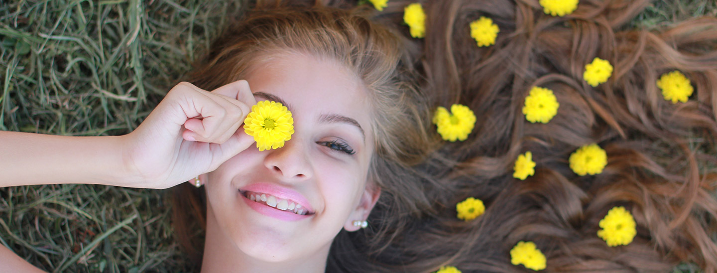 happy girl with flower