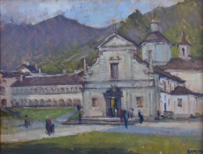 La Basilica Antica nel quadro (olio su tela) del pittore Piero Garino
