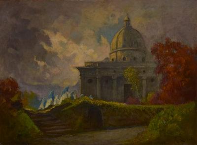 La Basilica Superiore nel quadro (olio su tela) di Mario Gachet