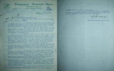 La lettera del Presidente della Sezione di Biella, Mario Balocco, del 7 ottobre 1952 (Archivio Storico Santuario di Oropa)