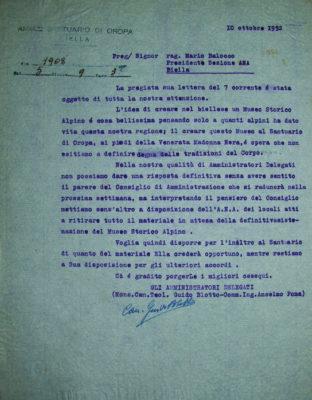 La lettera dell'Amministrazione del Santuario di Oropa del 10 ottobre 1952 (Archivio Storico Santuario di Oropa)