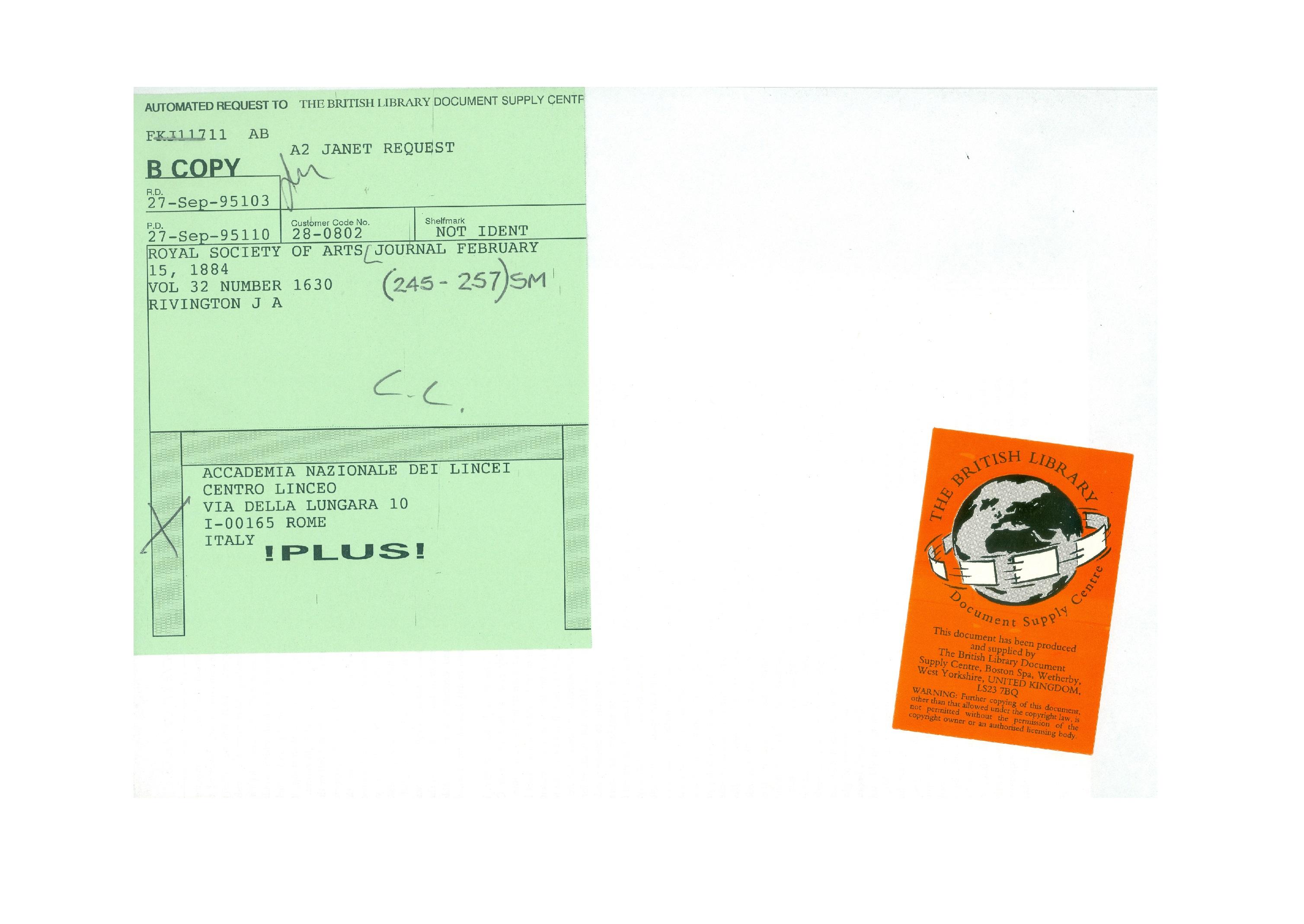 L'adesivo arancione che si trova sul verso della prima pagina dell'articolo inviato dal Document Supply Centre della British Library e il cedolino verde