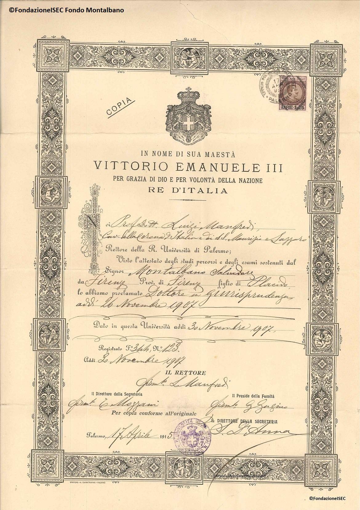 Diploma di laurea di Salvatore Montalbano, Palermo, 1907
