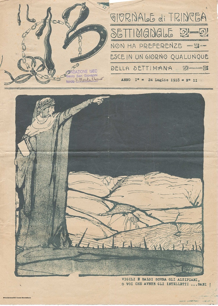 """Prima pagina de """"Il 13"""", Giornale di trincea, 24 luglio 1918"""