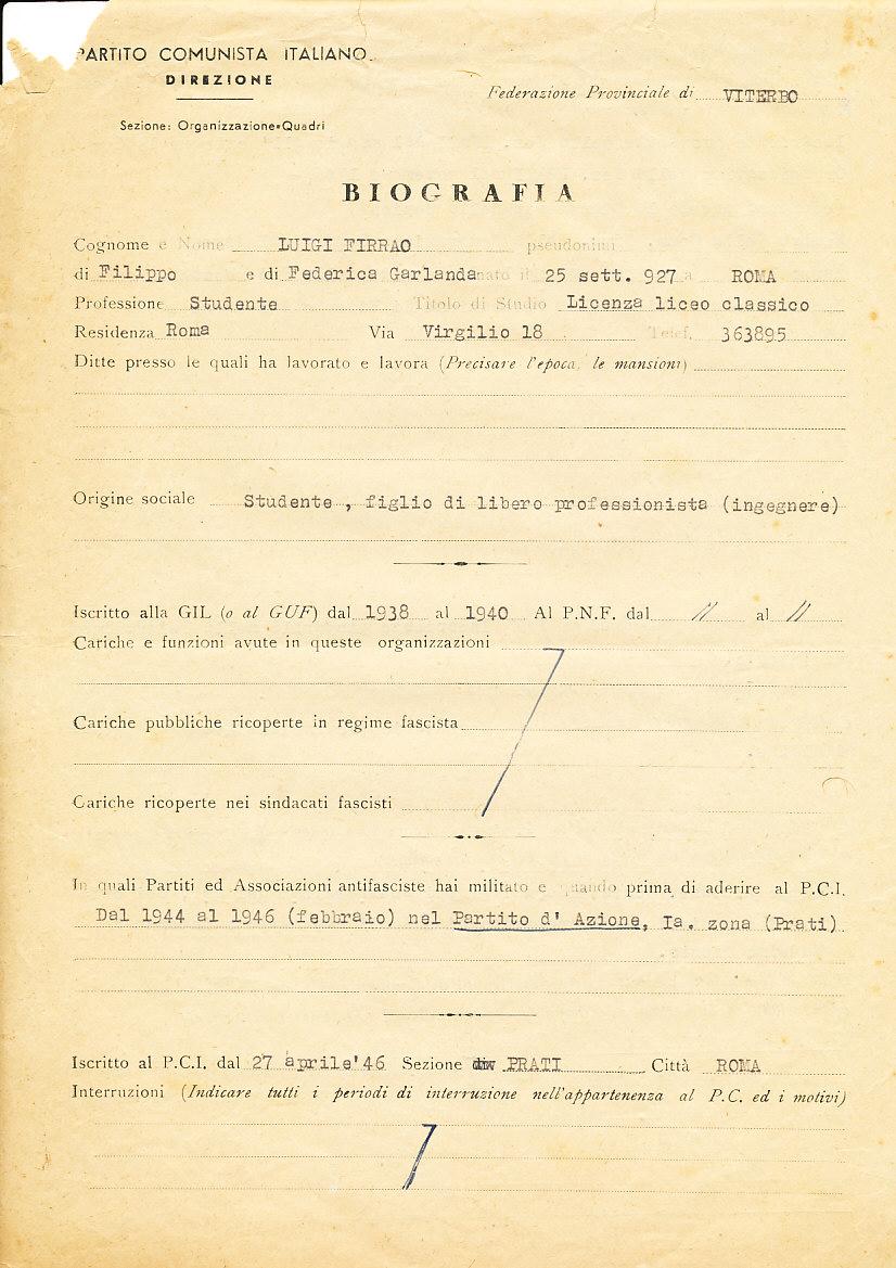 Biografia del militante, 1948