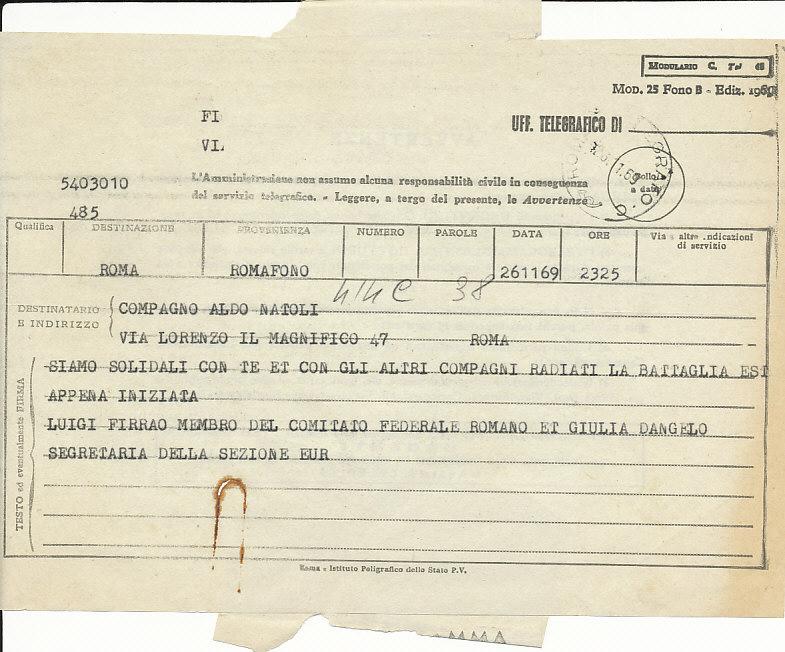 Telegramma di solidarietà di Luigi Firrao e Giulia D'Angelo con Aldo Natoli espulso dal Pci, 26 novembre 1969