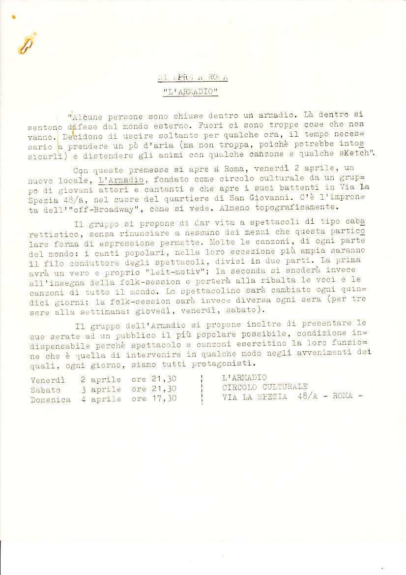 """Atto di nascita de """"L'Armadio"""", locale romano di cabaret, 1965"""