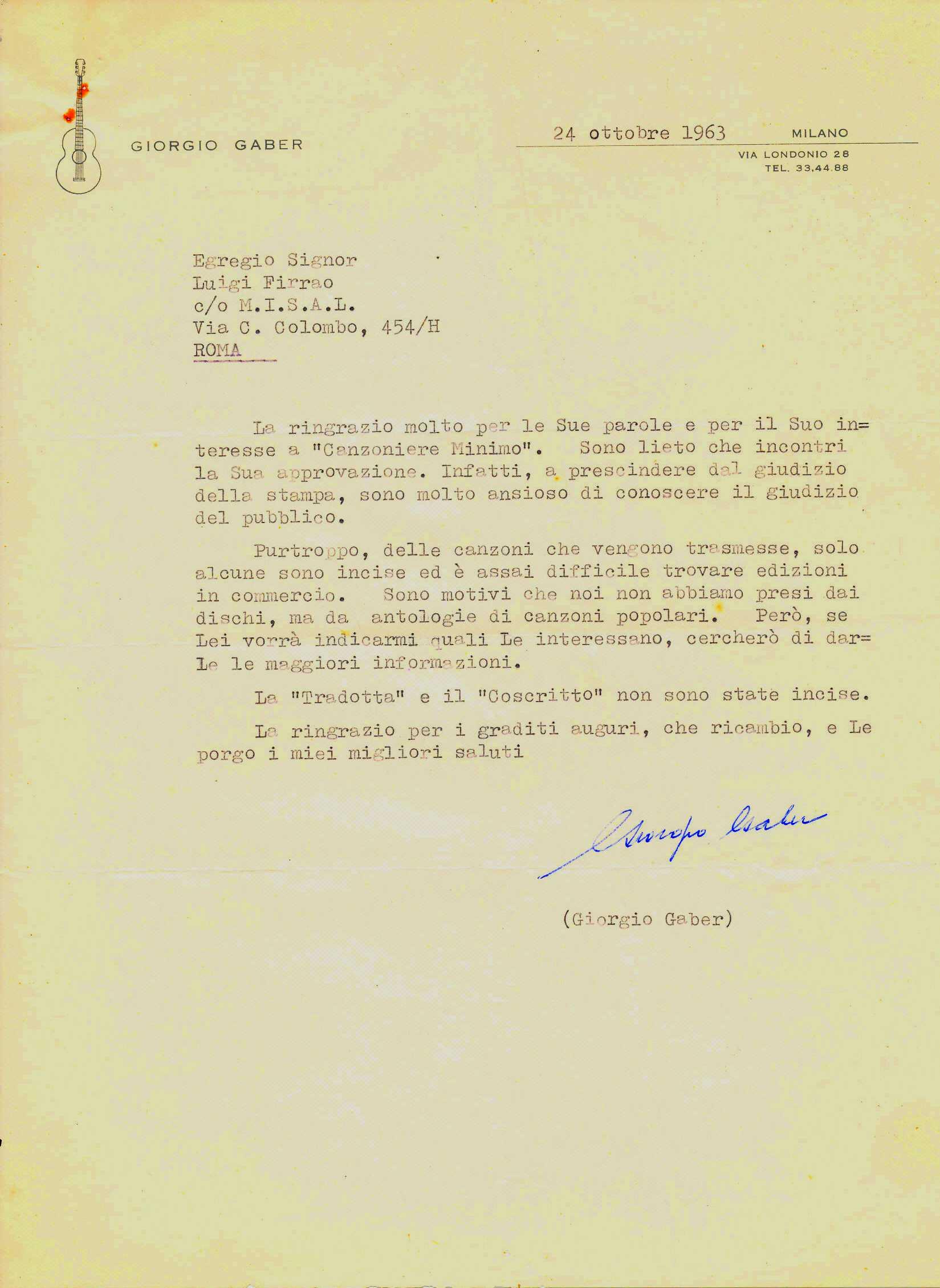 Lettera di Giorgio Gaber a Luigi Firrao, 1963