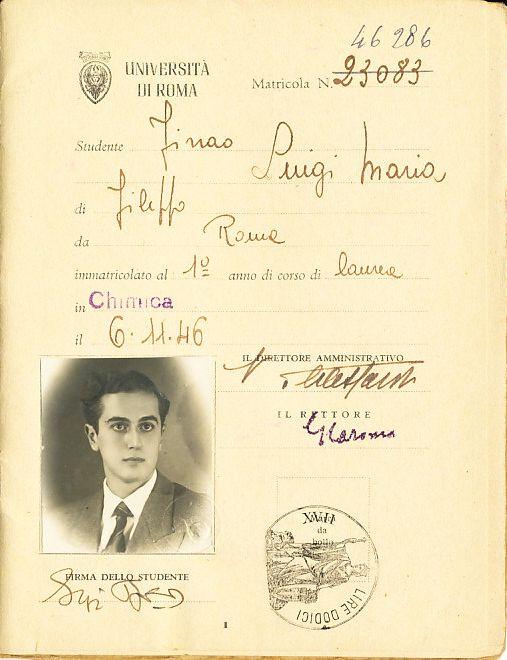 Libretto universitario di Luigi Firrao, 1946