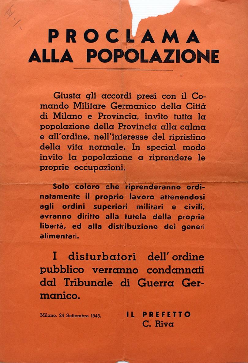 Volantino del prefetto di Milano subito dopo l'occupazione delle truppe germaniche, 1943
