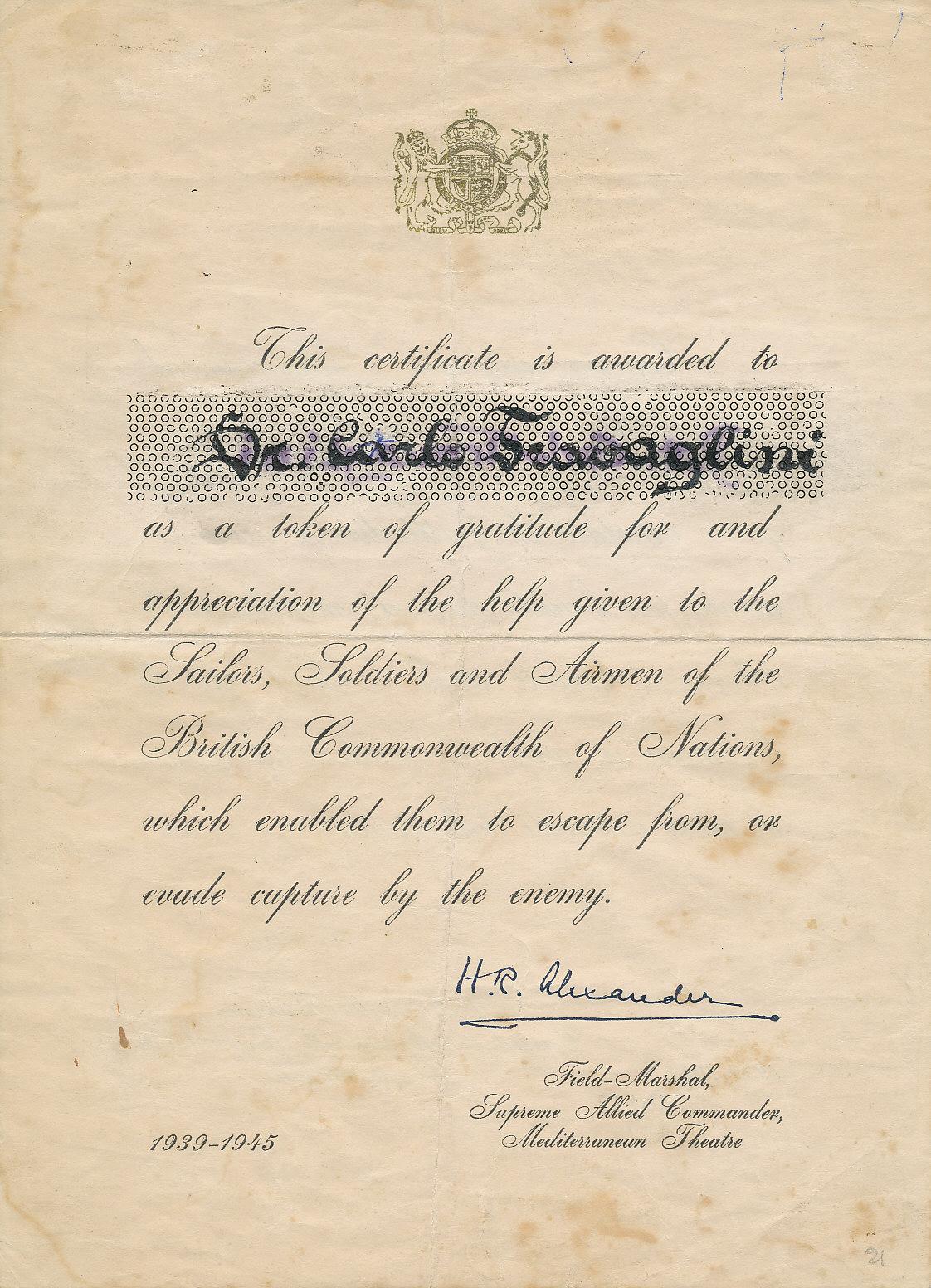 Riconoscimento rilasciato a Carlo Travaglini dal generale Alexander per l'opera da lui svolta in favore dei militari anglo-americani, 1945