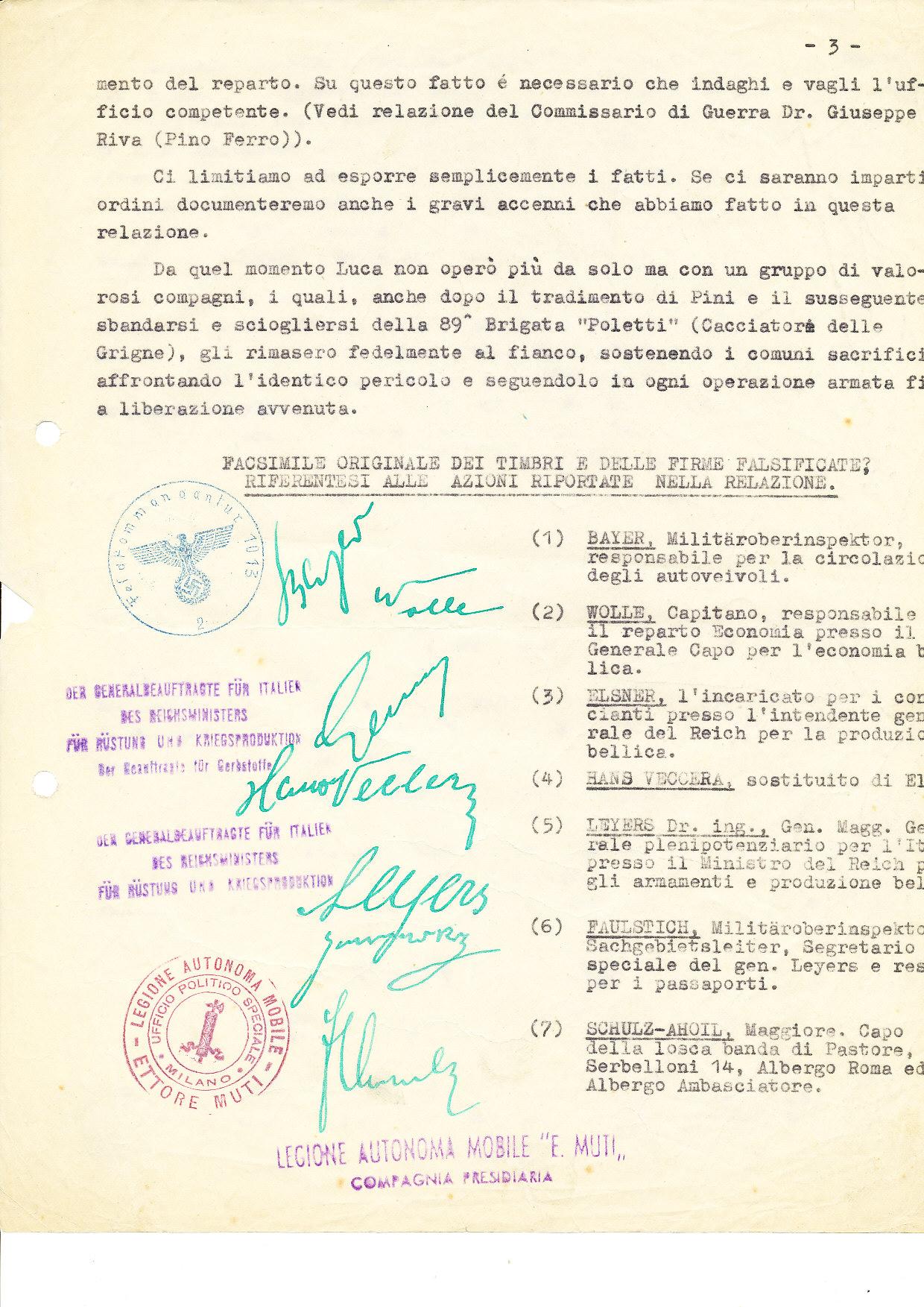 Timbri utilizzati da Travaglini per la falsificazione dei documenti e firme di alti ufficiali nazisti da lui contraffatte.