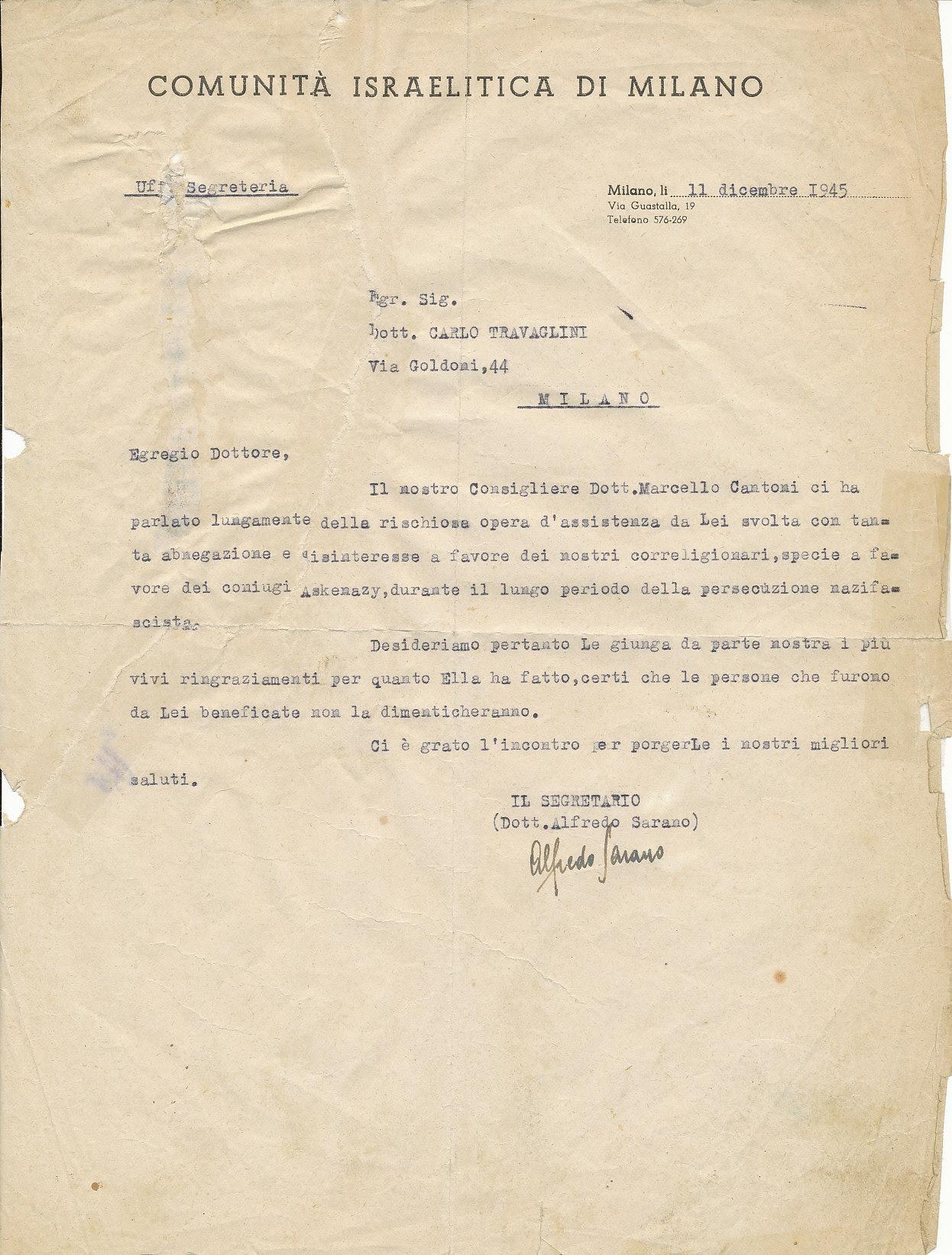 Attestato rilasciato a Carlo Travaglini dalla Comunità israelitica di Milano per la sua opera di salvataggio di ebrei perseguitati dai nazifascisti, 1945