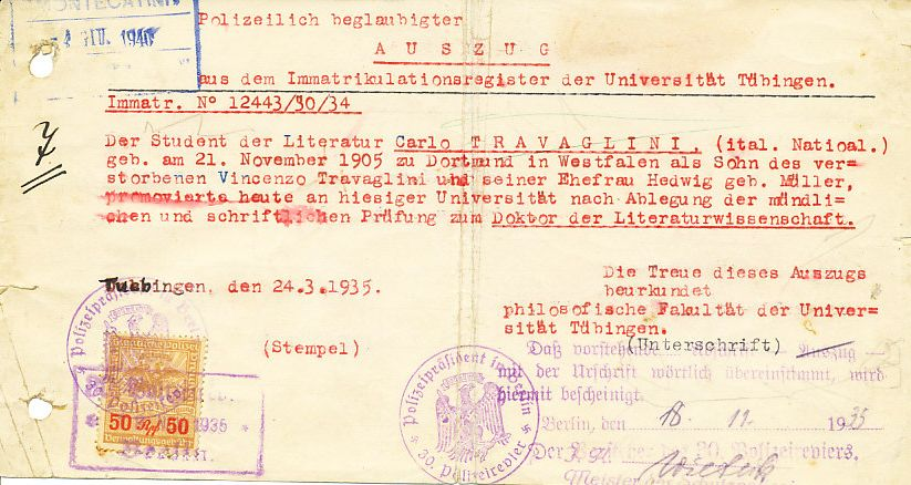 Diploma di laurea di Carlo Travaglini, 1935