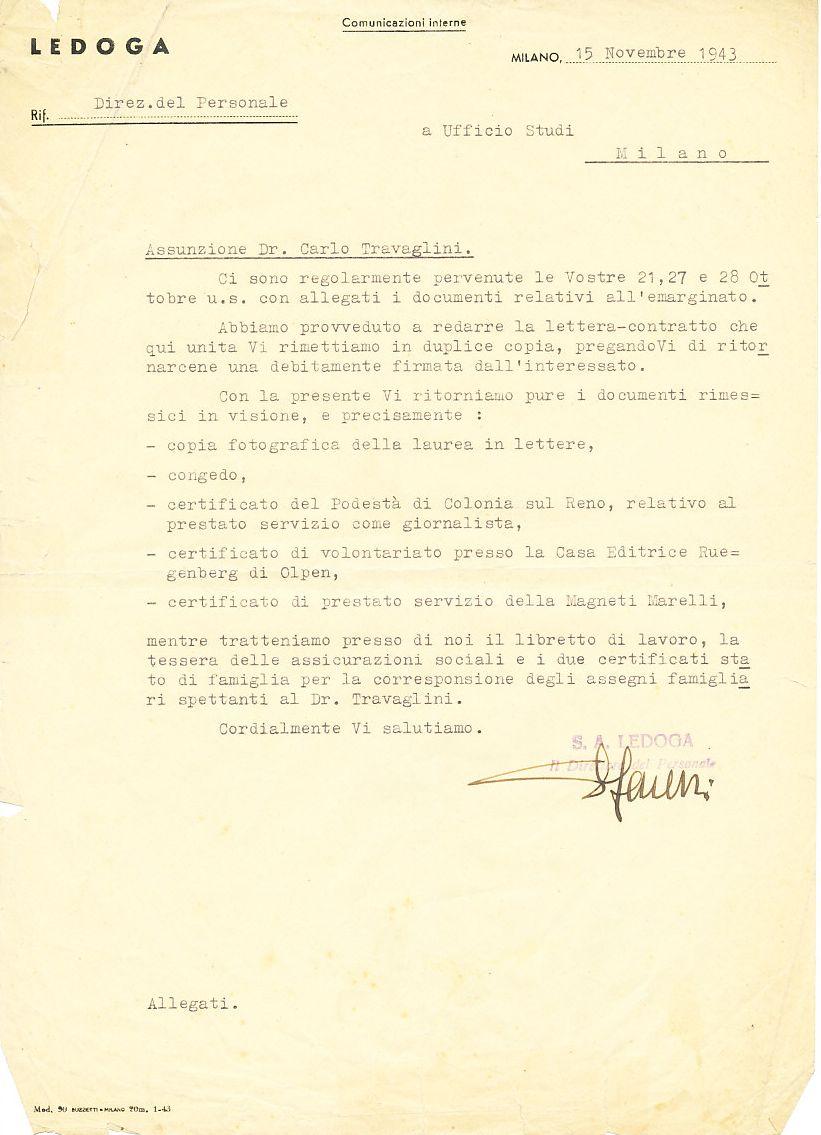Lettera di assunzione di Carlo Travaglini alla Ledoga, 1943