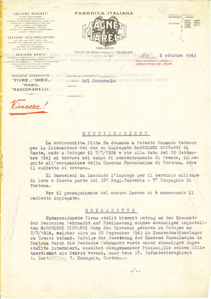 Esempio di richiesta inoltrata dalla società Magneti Marelli alle autorità tedesche per il rilascio di un militare italiano internato nel Campo di detenzione di Trento, 1943