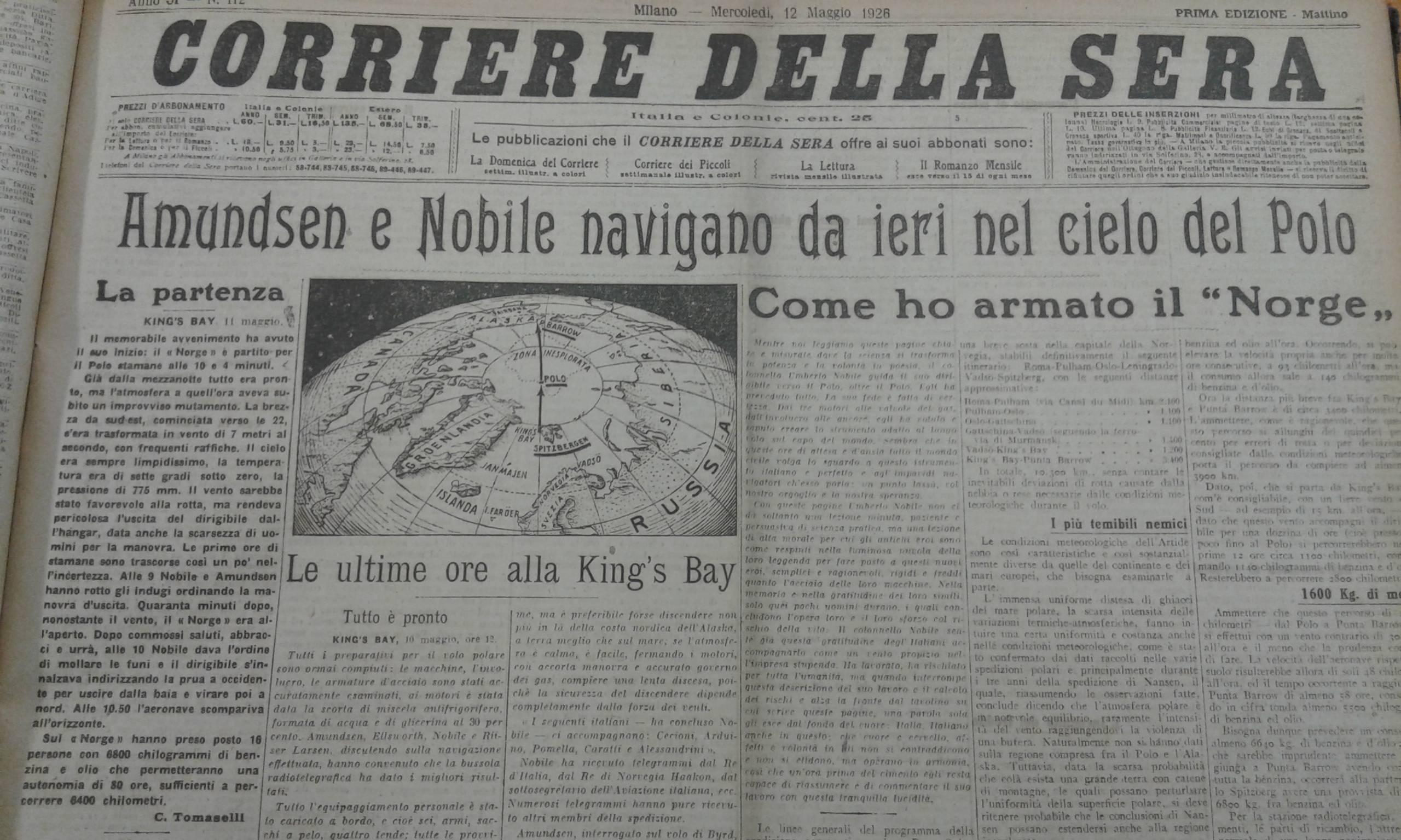 """""""Corriere della sera"""", 12 maggio 1926"""