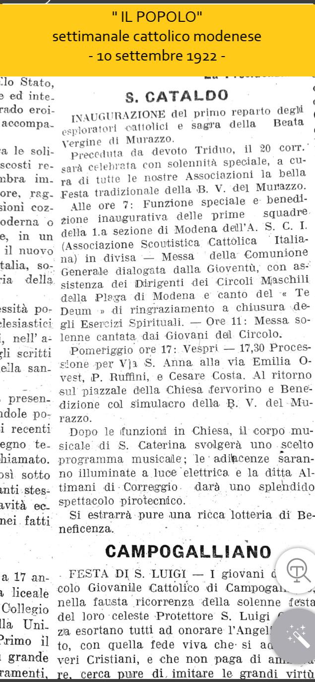 """""""IL POPOLO"""" settimanale cattolico modenese - 10 settembre 1922"""