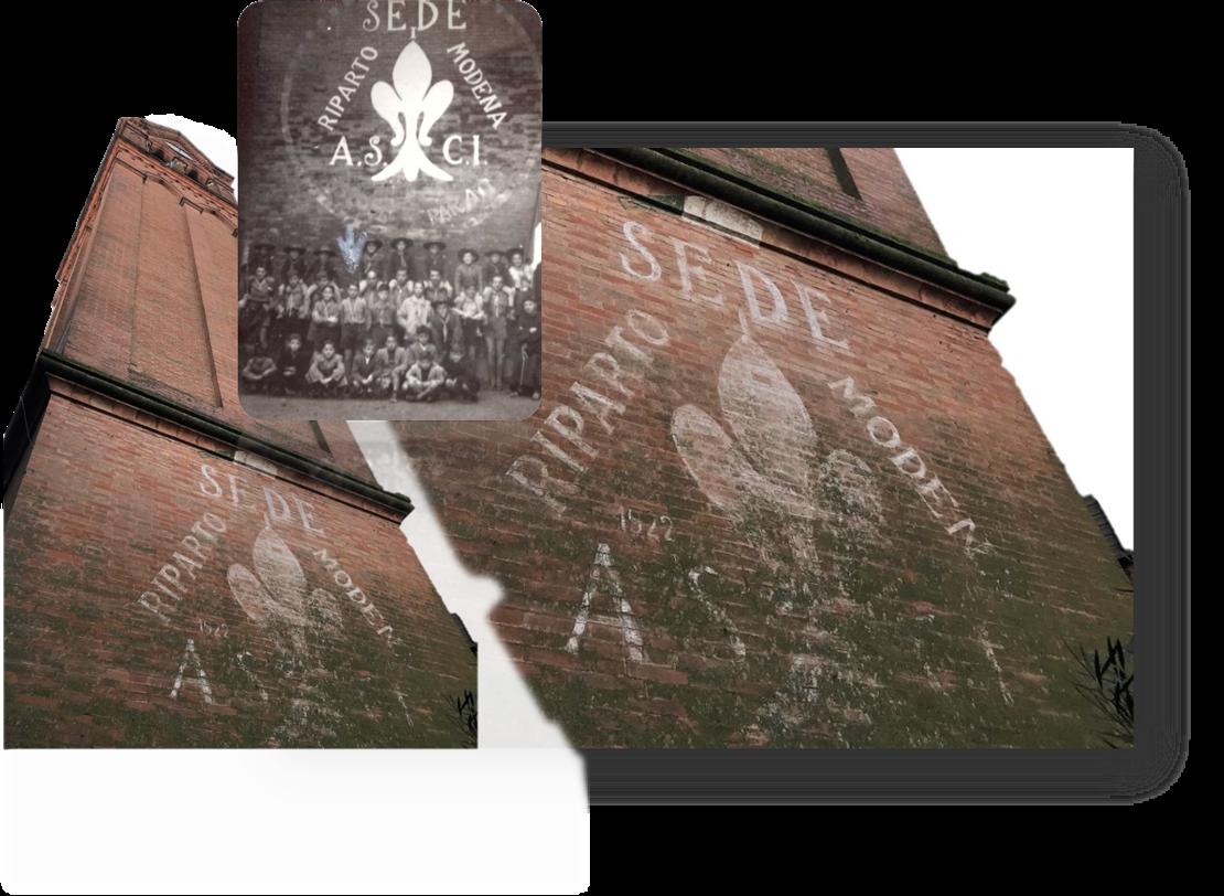 Il Campanile con il graffito del primo reparto Modena 1