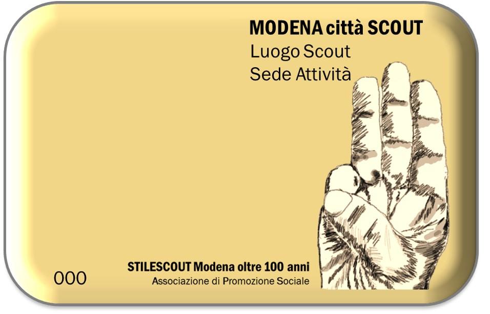 la TARGA che Indica le sedi di Attività scout a Modena