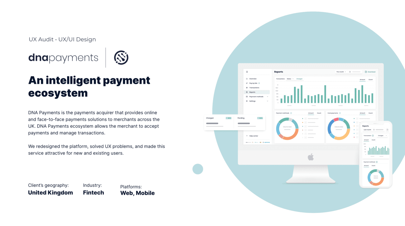 DNA payments UX case short information and web and mobile interface pictures
