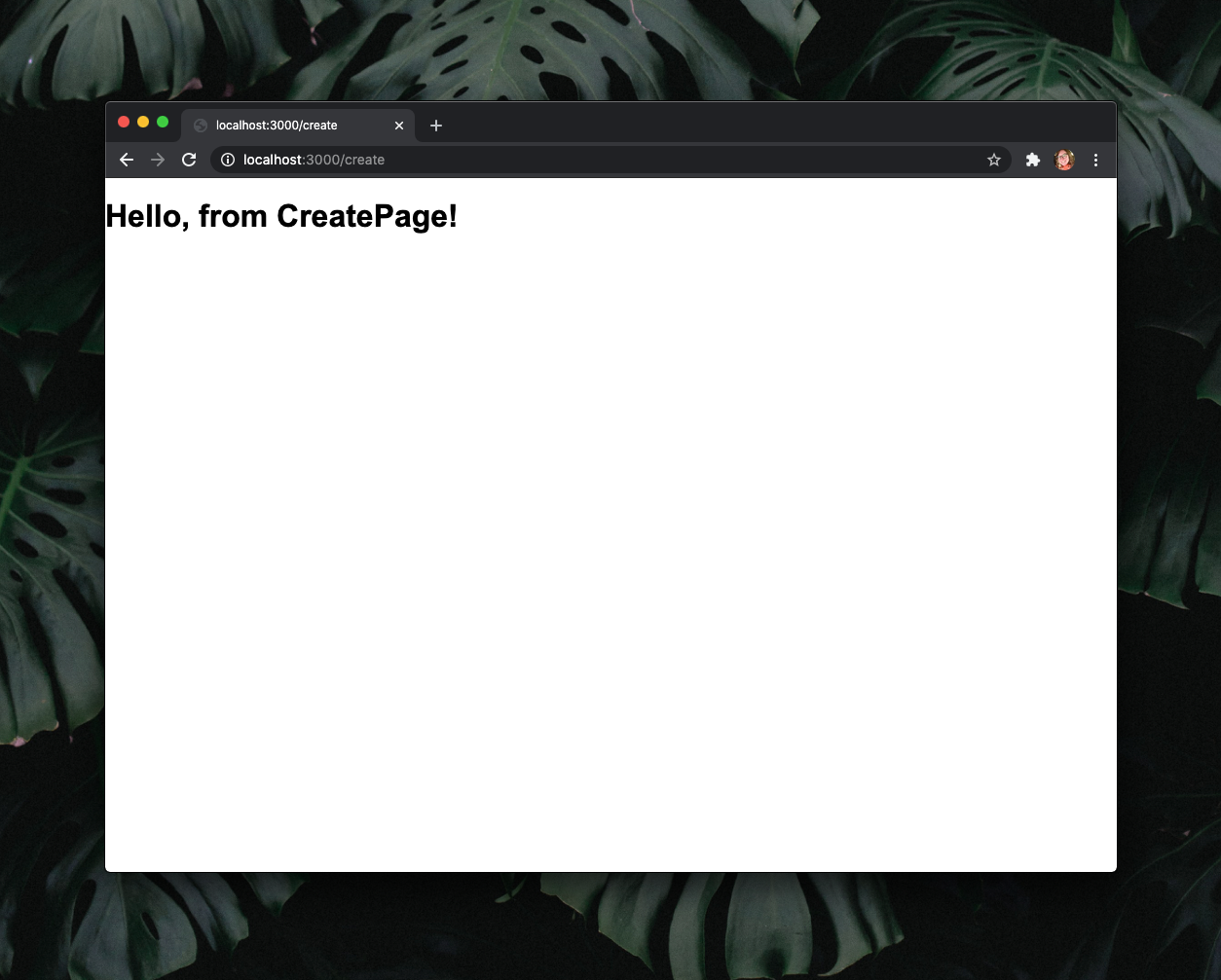 """A white webpage that reads """"Hello from CreatePage!"""" in black text."""