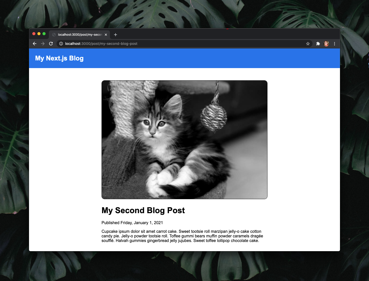 """The same webpage as before but with a blue bar at the top and a white link to the home page that reads """"My Next.js Blog""""."""
