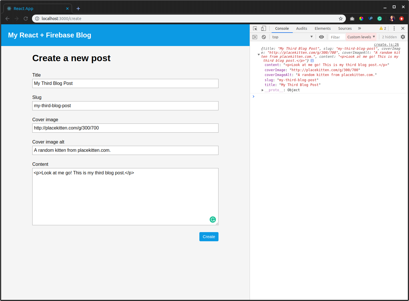 The create page with filled inputs and their values logged to the console.